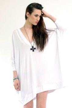 Babooshka Oversized Asymetrical T Shirt Dress in White. Via Etsy.