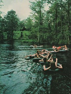 tubing on a river.