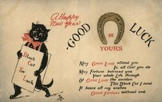 """vintage """"Black Cat for Luck"""" Happy New Year postcard"""