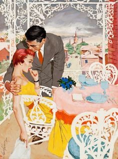 Comfort and love served up wildly elegant 1950s style.#Jim_Schaeffing #vintage #1950s #art #illustration #couple #love #man #woman