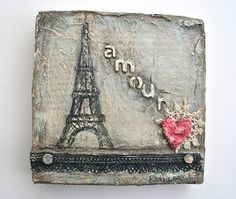 """Amour"" mixed media art piece with Eiffel Tower by Esther Orloff"