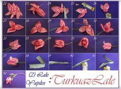 Ribbon tulip tutori, flore, fabric flowers, cinta, fabric craft, tulip, ribbon, fita, embroideri
