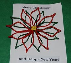 3-D Poinsettia Cards for Kids to Create and Give!  Merry Christmas & Happy New Year!