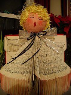 hymnal angel, craft, book sculpture, altered books, alter book, angels, christma, book angel, old books