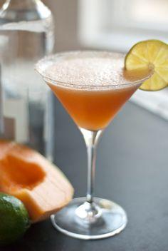 cantaloupe margarita - tequila; cantaloupe; fresh lime juice; agave nectar; ice; sea salt