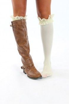 I WANT!  So cute!! Shabby Chic Cream Lace Boot Socks - Modern Vintage Boutique