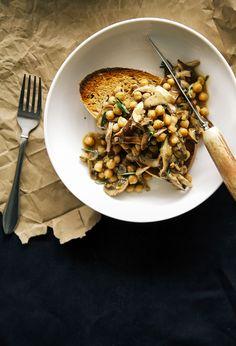 Rosemary mushroom and chickpea ragout on toast