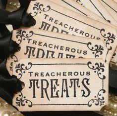 Halloween wedding favor tags.