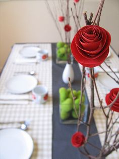 Apparently paper flowers have come a long way since the tissue paper carnations of our grade school years! These are lovely enough to serve as a centerpiece for dinner or a decoration for a buffet table. Take a look! Table Settings, Table Decorations, Paper Roses, Valentine Day, Flower Centerpieces, Simple Centerpieces, Paper Flowers, The Navy, Diy Centerpieces