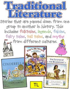 Genre posters....  Traditional (folktale, fable, fairytale, tall tale, myths