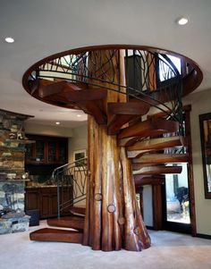 Spiral stairs with tree in center, not technically a log cabin but a great base to build one around! ║ #interior #design #log