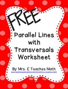 Parallel Lines with Transversals Extra Practice Worksheet