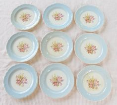 French Saxon China Pale Egg Shell Blue Floral by RosebudsOriginals, $29.95