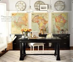 black desk, maps, antique, africa map, europe map, north america map    #map #prints