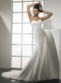 Pretty A-line dropped waist chiffon wedding dress $374.14