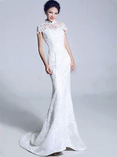 White Lace Fishtail Cheongsam / Qipao / Chinese Wedding Dress