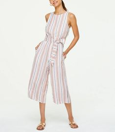 Striped Tie Waist Sleeveless Jumpsuit