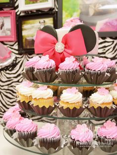 Cupcakes at a Zebra Minnie Mouse Birthday Party!   See more party ideas at CatchMyParty.com!  #partyideas #minniemouse