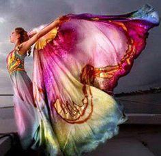 butterflies, dream, color, dress, art