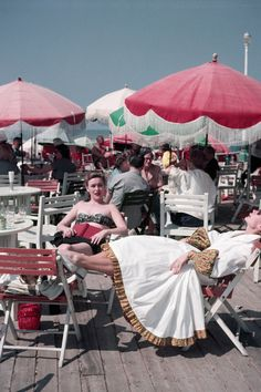 Robert Capa's Stunning Color Photographs: Women on the boardwalk, Deauville, France, August 1951