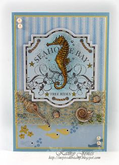 Card designed by Kathy Jones.  Love the May Arts ribbon she used to show off the shell stamps in this set.