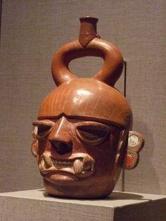 Portrait vessel of a fanged deity Peru Moche culture 400 BCE-550 CE Earthenware
