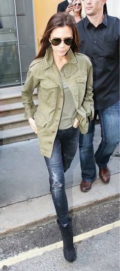 Victoria Beckham military coat and jeans