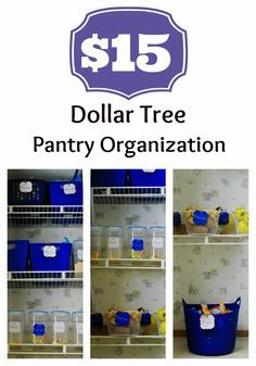 Inexpensive pantry organization with products from the Dollar Tree. #organizing #pantry