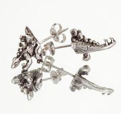 STEGOSAURUS HALFSIES  Dinosaur Stud Earrings in by snashjewelry, $56.00