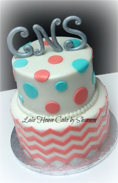 Would do the monogram on the side of the cake (to look differently) instead of on top.  Coral Teal Turquoise Chevron Monogram Sparkle Birthday 2 tiered cake Lake House Cake by Shannon