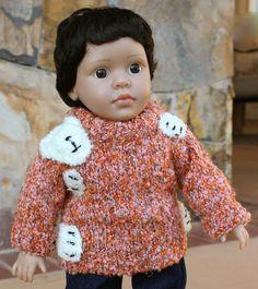 Teddy Bear Hugs Sweaters worn by 18 Inch Boy Dolls by Harmony Club Dolls are available at www.harmonyclubdolls.com