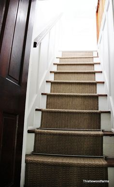 Add indoor/outdoor carpet to stairs - would be great for stairs leading to outdoor sunken patio & basement