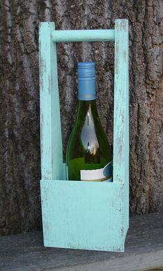 Handmade Shabby Vintage Style Wood Wine Tote Box / by messymimi, $18.00