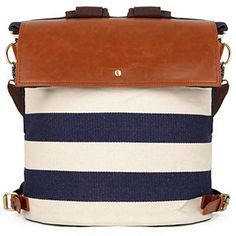 striped canvas backpack