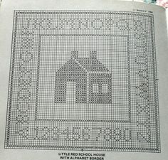 Little Red School House with Alphabet Border