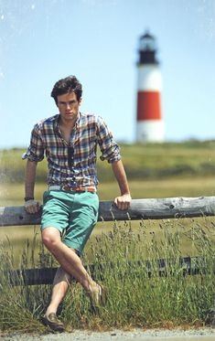 Kiel, in summer—Madras Shirt by Brooks Brothers; sunglasses by Ralph Lauren; penny loafers by Rancourt and Co.; shorts by J. Crew; braided rope belt by Kiel James Patrick.