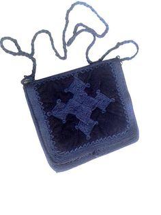 vintage moroccan velvet  embroidery bag  /  navy by lesclodettes
