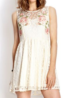 Red Rose Lace Dress – White  @LookBookStore