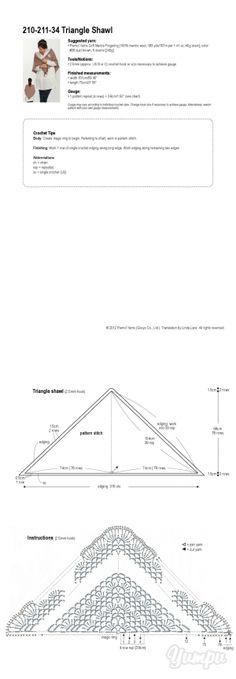 Crochet Triangle Shawl chart / diagram / pattern