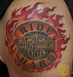 Harley Davidson Tattoo done by Sean Ambrose at Arrows and Embers Custom Tattooing