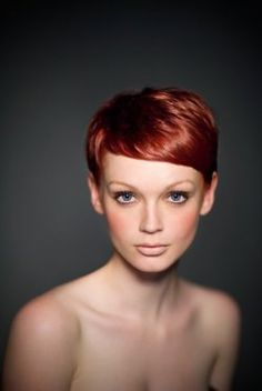heck yeah pixie cuts. And it's red!