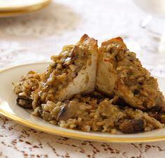 Tofu Stuffed with Brown Rice and Mushroom Dressing