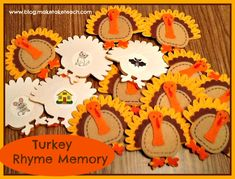 FREE rhyming pictures for creating your own Thanksgiving themed center activity