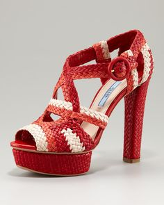 Prada woven straw platform sandal