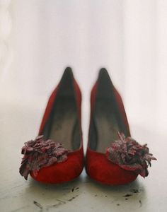 red shoes with flower detail