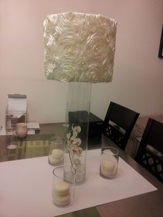 main centerpiece    5by20=$12.50  lampshade=$5.50  fabric=$4  2xorchids=$4  3x4by6=$12  3xcandles=$3  acrylicrocksatthebottomofthe3vases.halfabagineachvase,eachbagis4dollars=$2    18x$43=$774
