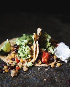 black bean lentil bulgur tacos with cabbage avocado slaw