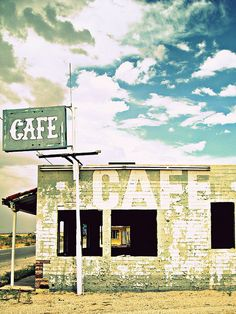 An old abandoned cafe on Route 66 in Yucca, Arizona.