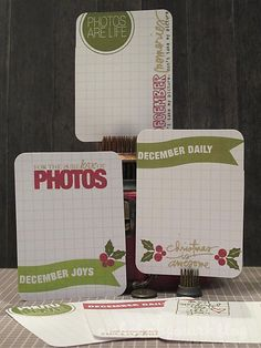 Journaling cards for December Daily or Project Life from Nichol Magouirk. All the stamps from TechniqueTuesday.com