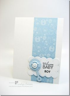 baby card with rattle & button